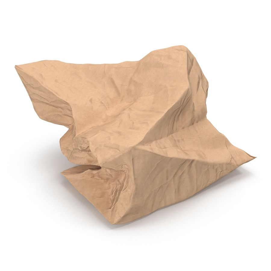 Crumpled Fast Food Paper Bag 2 royalty-free 3d model - Preview no. 7