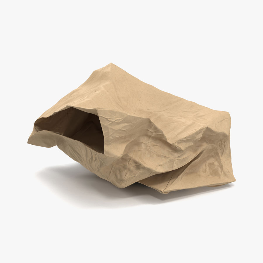 Crumpled Fast Food Paper Bag 2 royalty-free 3d model - Preview no. 1