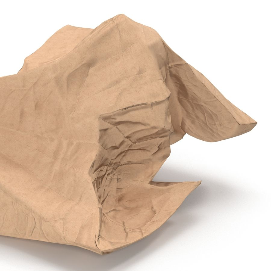 Crumpled Fast Food Paper Bag 2 royalty-free 3d model - Preview no. 15