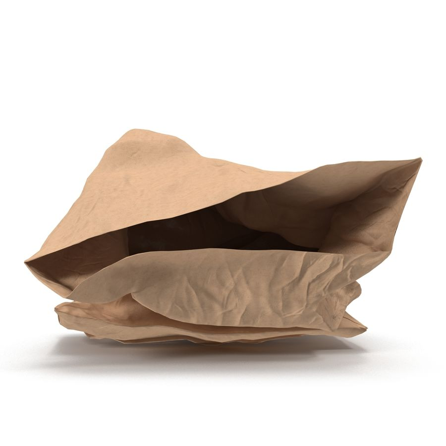Crumpled Fast Food Paper Bag 2 royalty-free 3d model - Preview no. 5