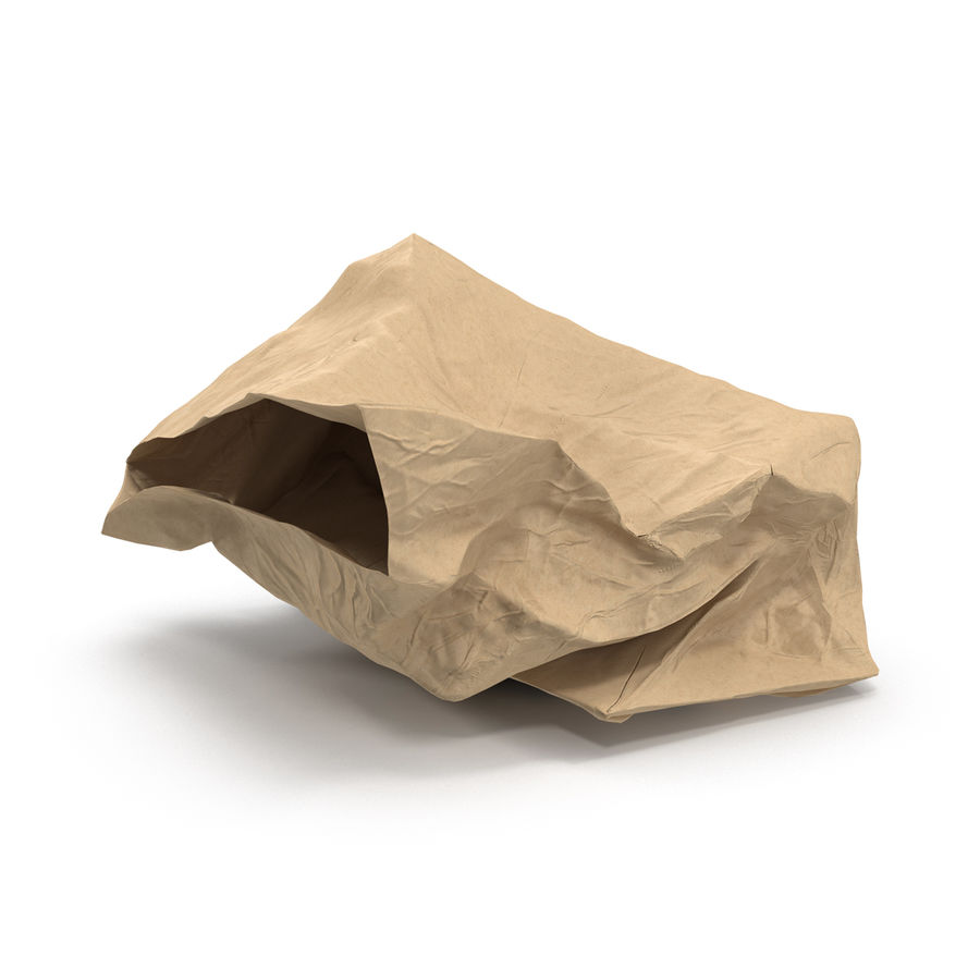 Crumpled Fast Food Paper Bag 2 royalty-free 3d model - Preview no. 2
