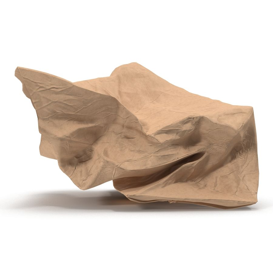 Crumpled Fast Food Paper Bag 2 royalty-free 3d model - Preview no. 9