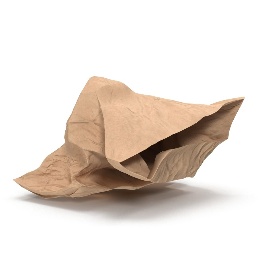 Crumpled Fast Food Paper Bag 2 royalty-free 3d model - Preview no. 3
