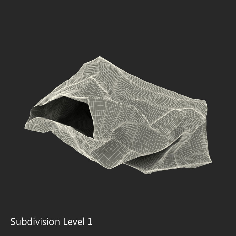 Crumpled Fast Food Paper Bag 2 royalty-free 3d model - Preview no. 18