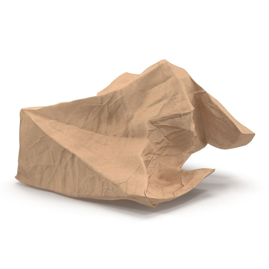 Crumpled Fast Food Paper Bag 2 royalty-free 3d model - Preview no. 8