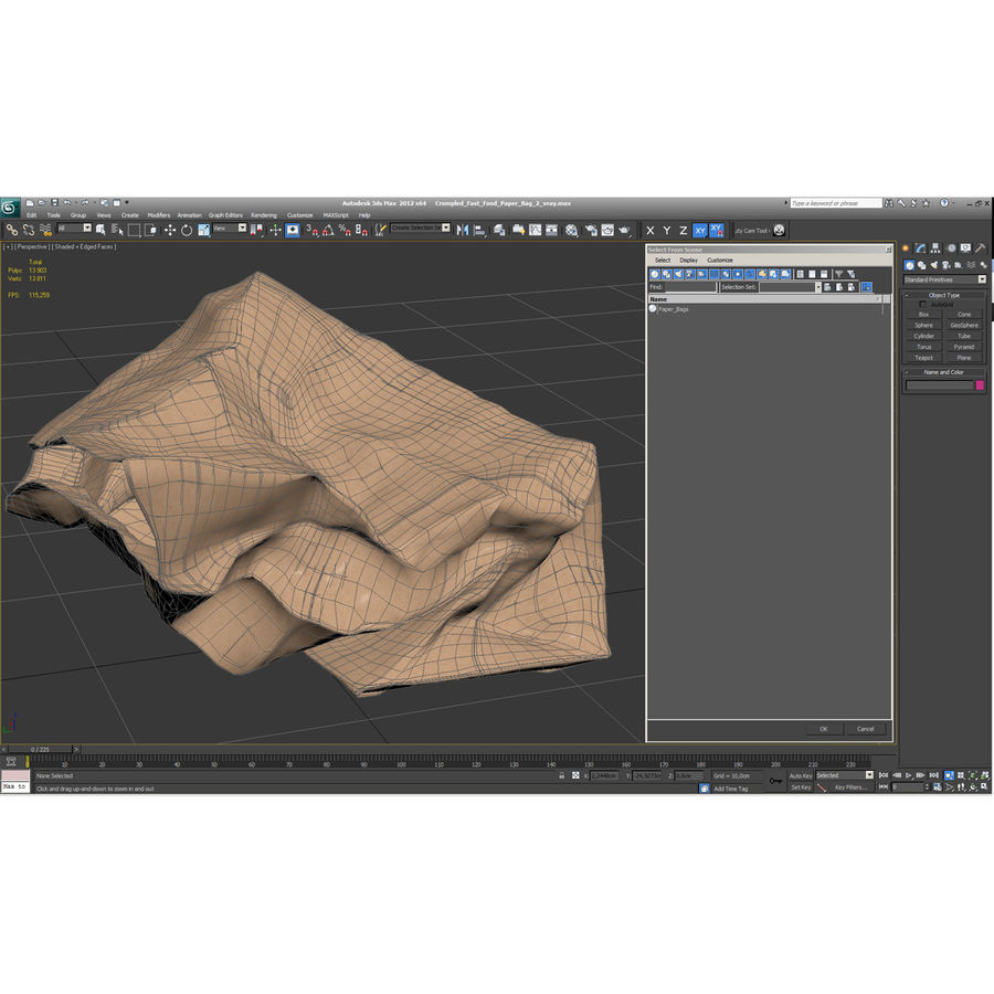 Crumpled Fast Food Paper Bag 2 royalty-free 3d model - Preview no. 21