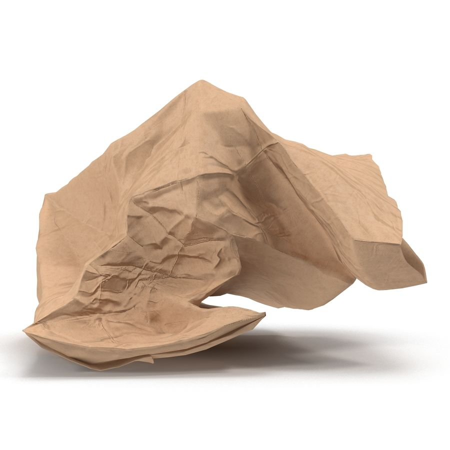 Crumpled Fast Food Paper Bag 2 royalty-free 3d model - Preview no. 10