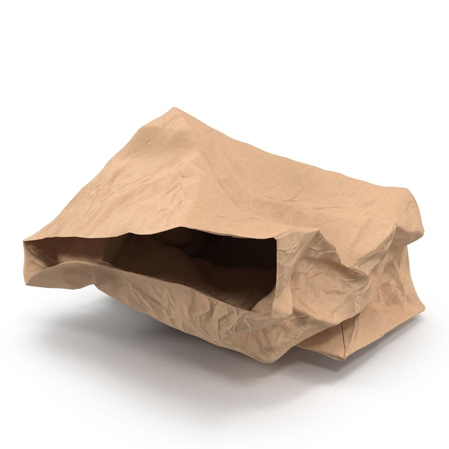 Crumpled Fast Food Paper Bag 2 royalty-free 3d model - Preview no. 4
