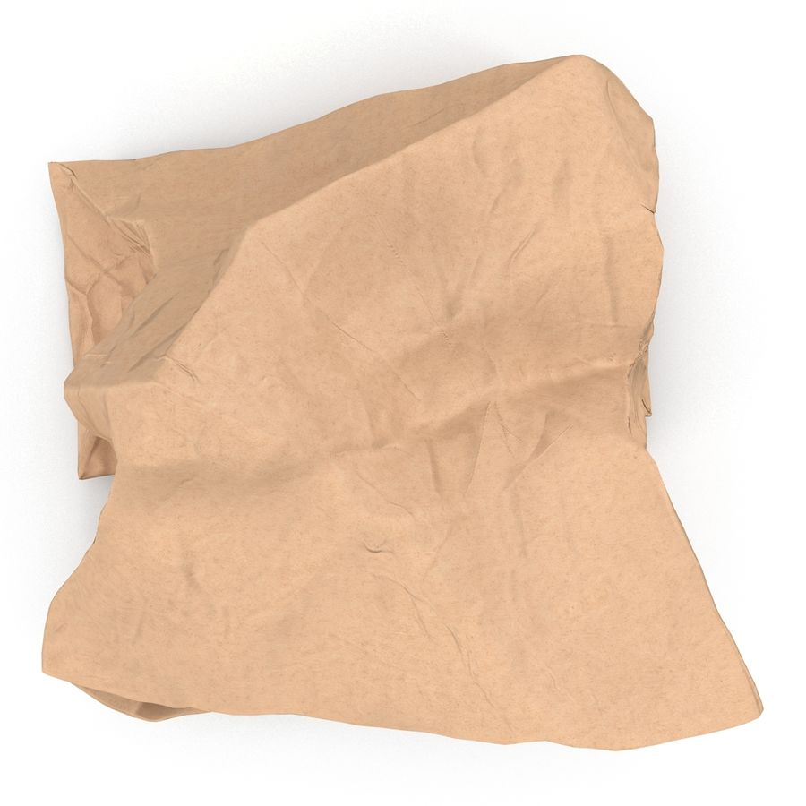 Crumpled Fast Food Paper Bag 2 royalty-free 3d model - Preview no. 6