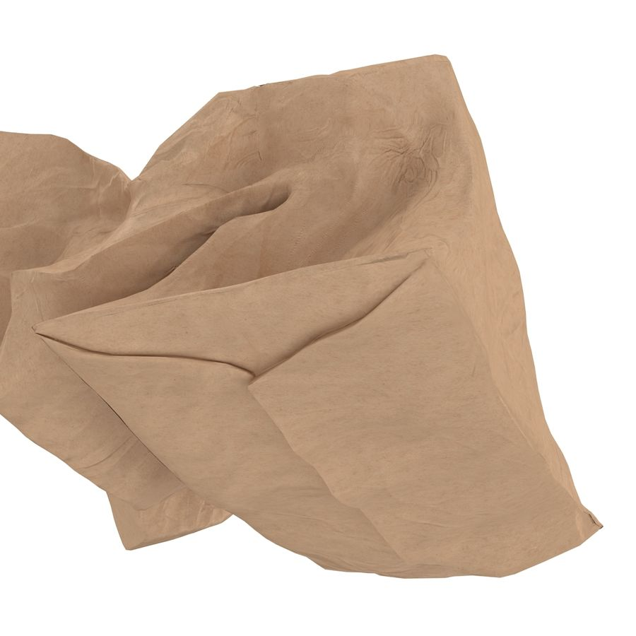 Crumpled Fast Food Paper Bag 2 royalty-free 3d model - Preview no. 14
