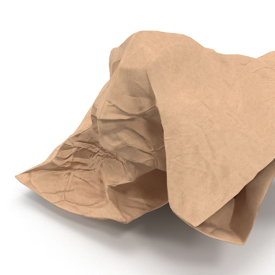 Crumpled Fast Food Paper Bag 2 royalty-free 3d model - Preview no. 16