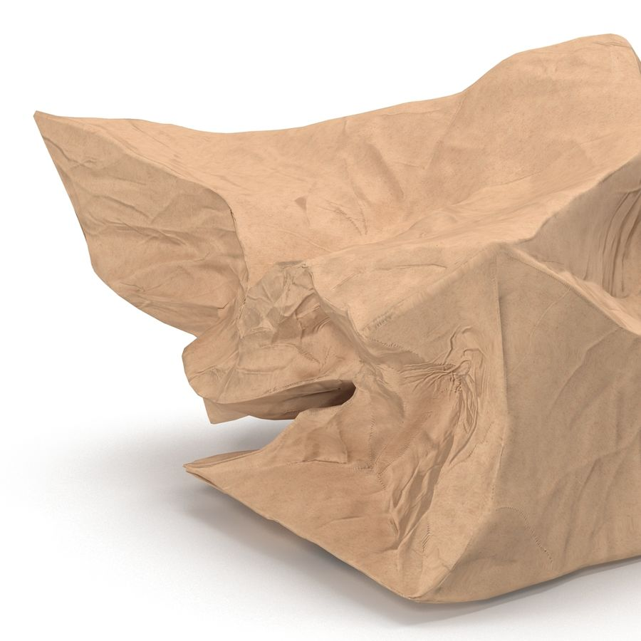 Crumpled Fast Food Paper Bag 2 royalty-free 3d model - Preview no. 13