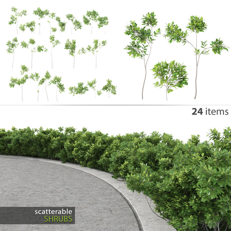 Scatterable Shrubs royalty-free 3d model - Preview no. 1