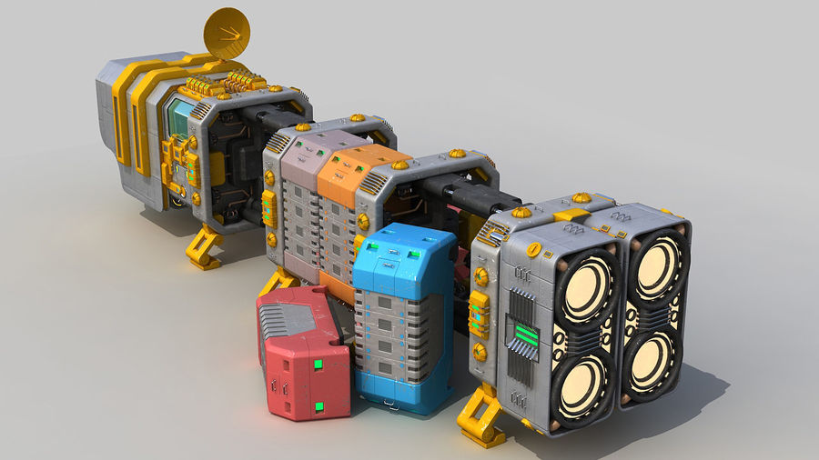 Cargo spaceship royalty-free 3d model - Preview no. 9