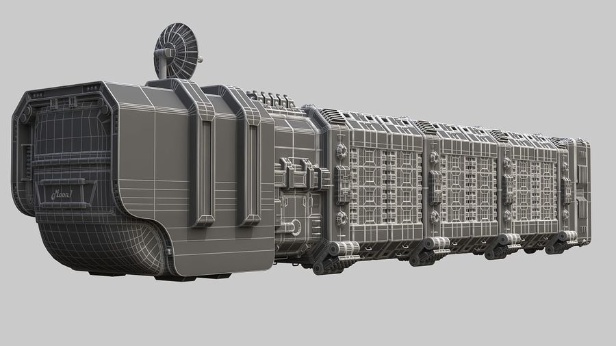 Cargo spaceship royalty-free 3d model - Preview no. 12