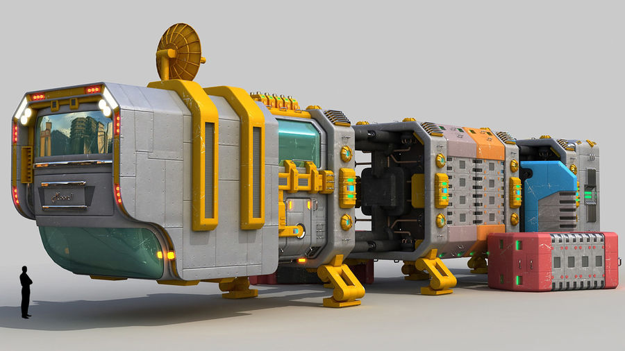 Cargo spaceship royalty-free 3d model - Preview no. 1