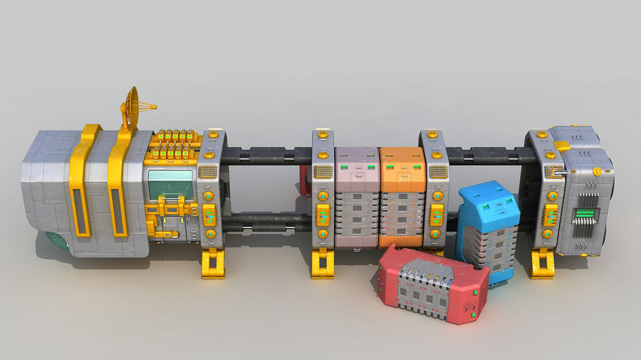 Cargo spaceship royalty-free 3d model - Preview no. 5