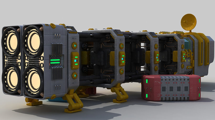 Cargo spaceship royalty-free 3d model - Preview no. 8