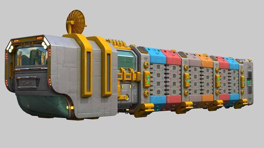 Cargo spaceship royalty-free 3d model - Preview no. 2
