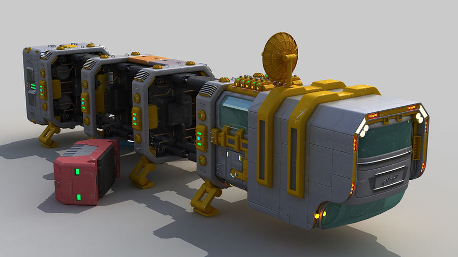Cargo spaceship royalty-free 3d model - Preview no. 10