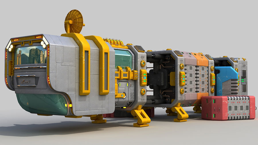 Cargo spaceship royalty-free 3d model - Preview no. 6