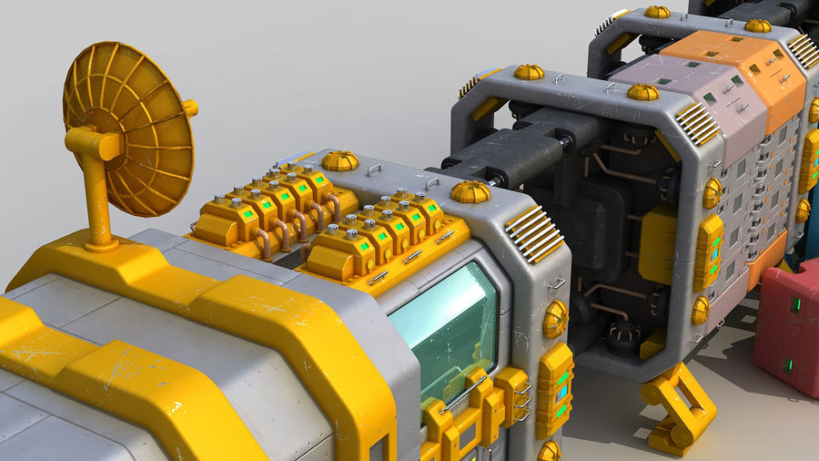 Cargo spaceship royalty-free 3d model - Preview no. 11