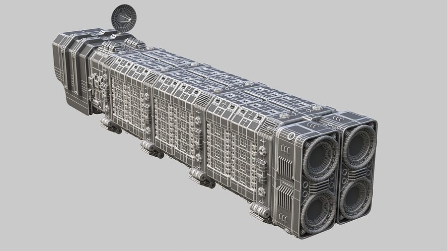 Cargo spaceship royalty-free 3d model - Preview no. 13