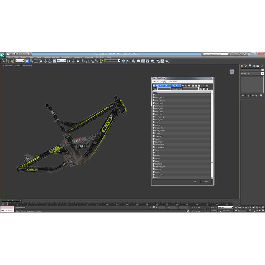 Mountain Bike Frame royalty-free 3d model - Preview no. 33