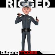 가벼운 만화 경찰관 3d model