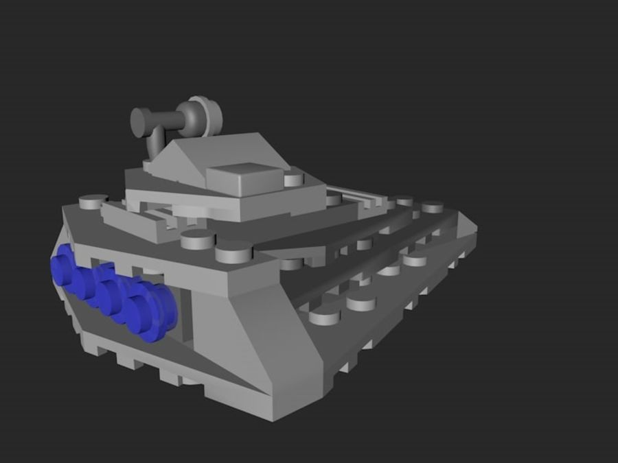 LEGO First Order Star Destroyer royalty-free 3d model - Preview no. 4