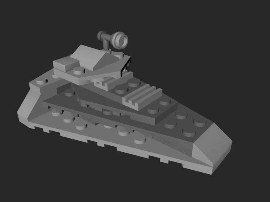 LEGO First Order Star Destroyer royalty-free 3d model - Preview no. 3