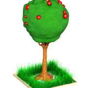 Apple Tree Cartoon 3d model
