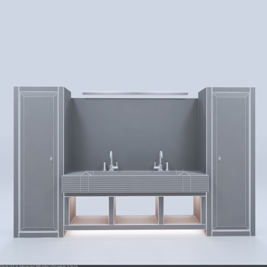 Bathroom Furniture room royalty-free 3d model - Preview no. 7