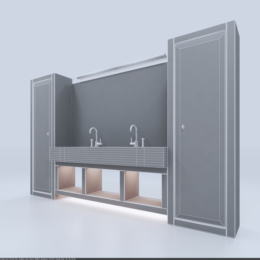 Bathroom Furniture room royalty-free 3d model - Preview no. 8