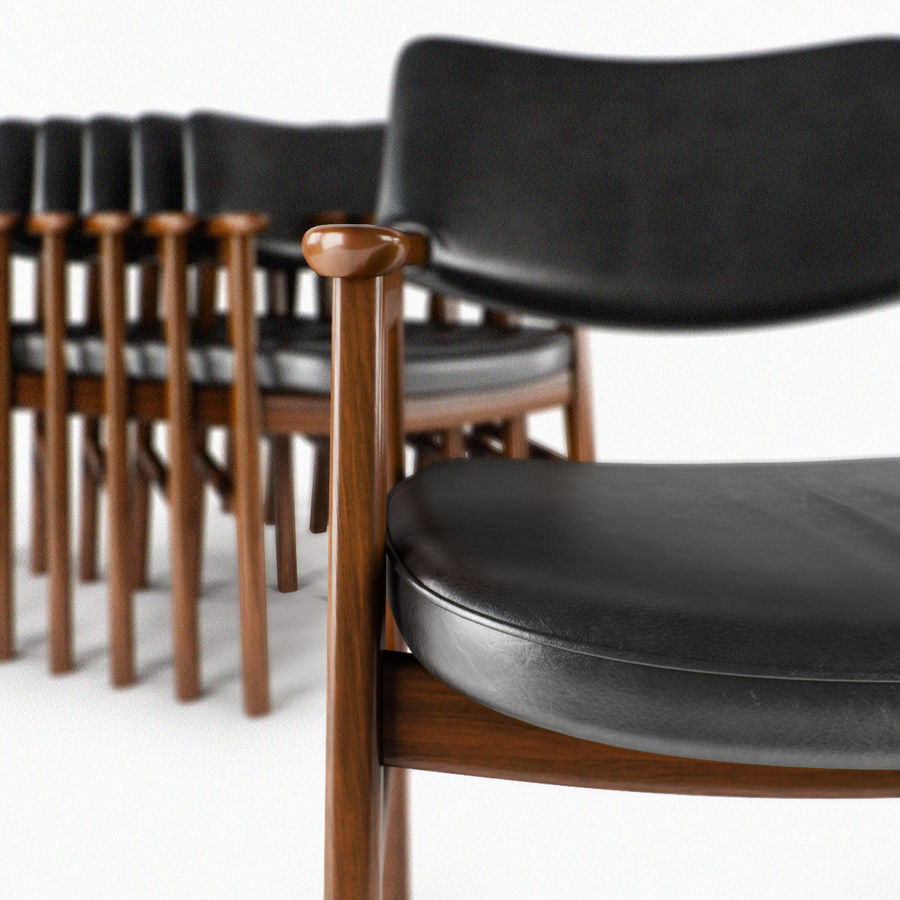 Danish Desk Chair royalty-free 3d model - Preview no. 6