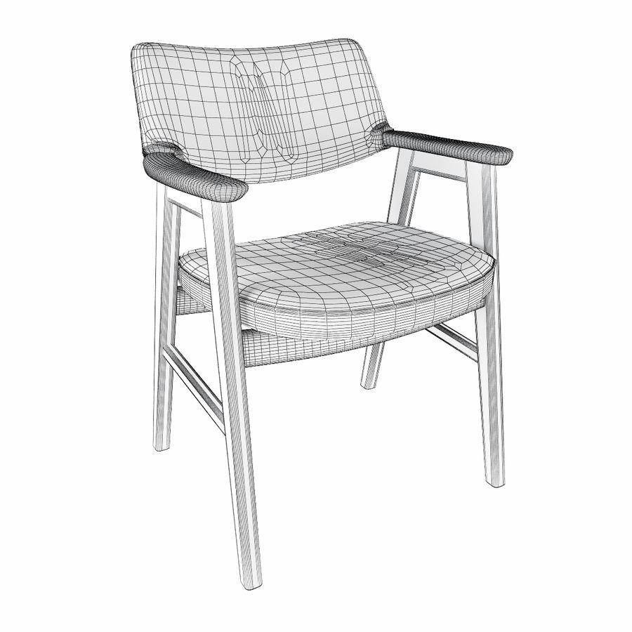 Danish Desk Chair royalty-free 3d model - Preview no. 7