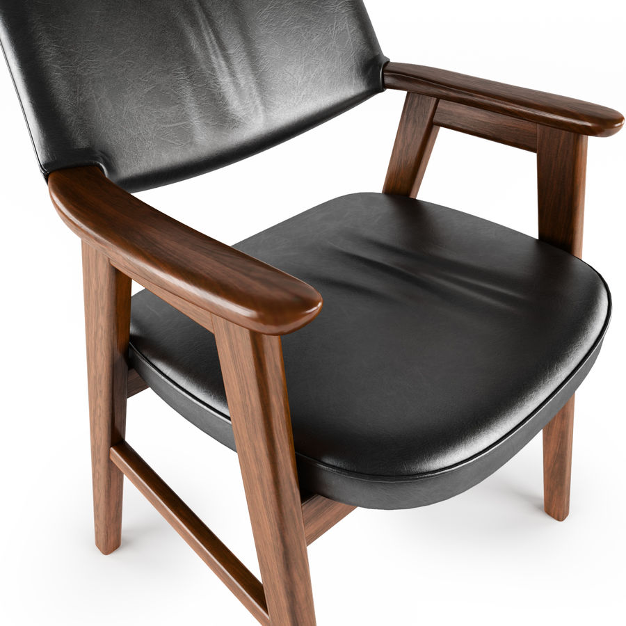 Danish Desk Chair royalty-free 3d model - Preview no. 5