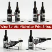 Alcoholset # 6: Mitchelton Shiraz rode wijnfles, glas, dienblad, wijnhouder \ standaard (high poly-modellen). 3d model
