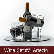 Zestaw alkoholowy # 7: Butelka czerwonego wina Artezin, szkło, taca, uchwyt na wino \ podstawka (modele wysokiej rozdzielczości gotowe do renderowania wnętrza). 3d model