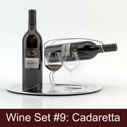 Alcoholset # 9: Cadaretta rode wijnfles, glas, dienblad, wijnhouder \ standaard (high poly-modellen klaar voor interieurweergave). 3d model