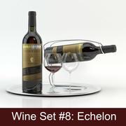 Alcoholset # 8: Echelon rode wijnfles, glas, dienblad, wijnhouder \ standaard (modellen van hoge kwaliteit klaar voor interieurproject). 3d model