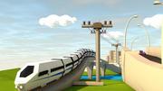 Ville Low Poly avec train sur rail 3d model