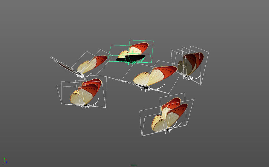 Pakiet 12 animowanych motyli royalty-free 3d model - Preview no. 2
