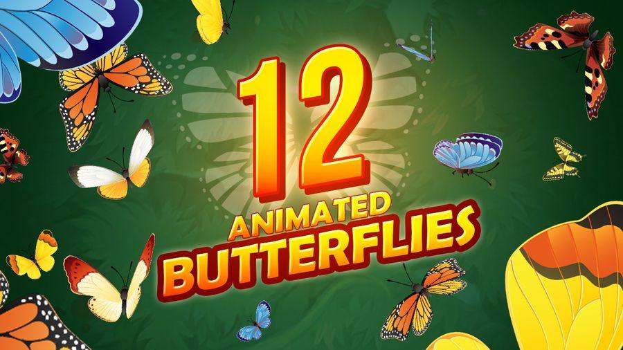 Pakiet 12 animowanych motyli royalty-free 3d model - Preview no. 1