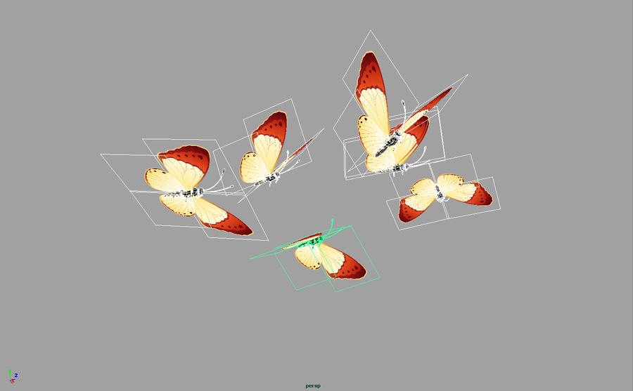 Pakiet 12 animowanych motyli royalty-free 3d model - Preview no. 4