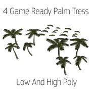Palmbomen (laag en hoog poly) 3d model