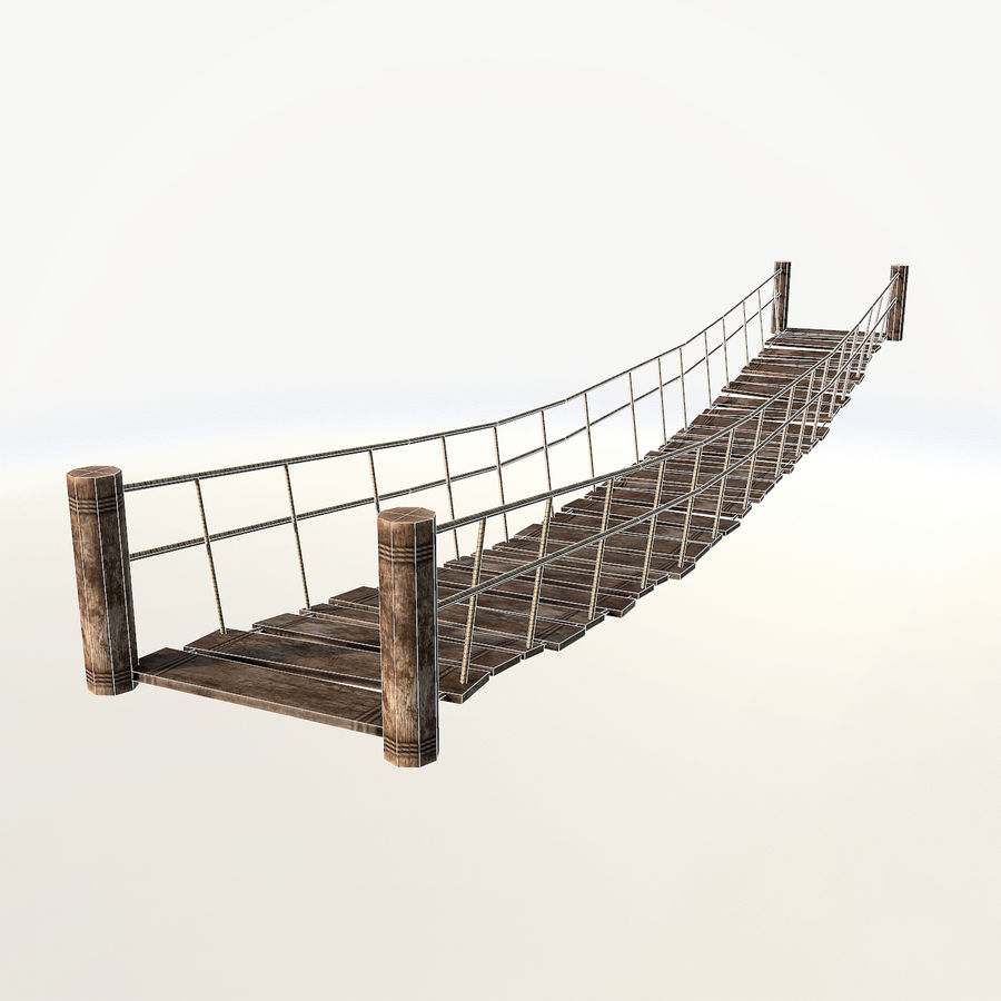 Rope bridge low poly royalty-free 3d model - Preview no. 3