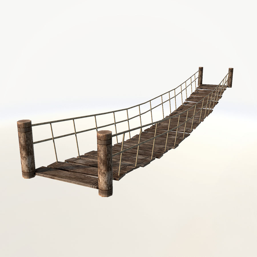Rope bridge low poly royalty-free 3d model - Preview no. 2
