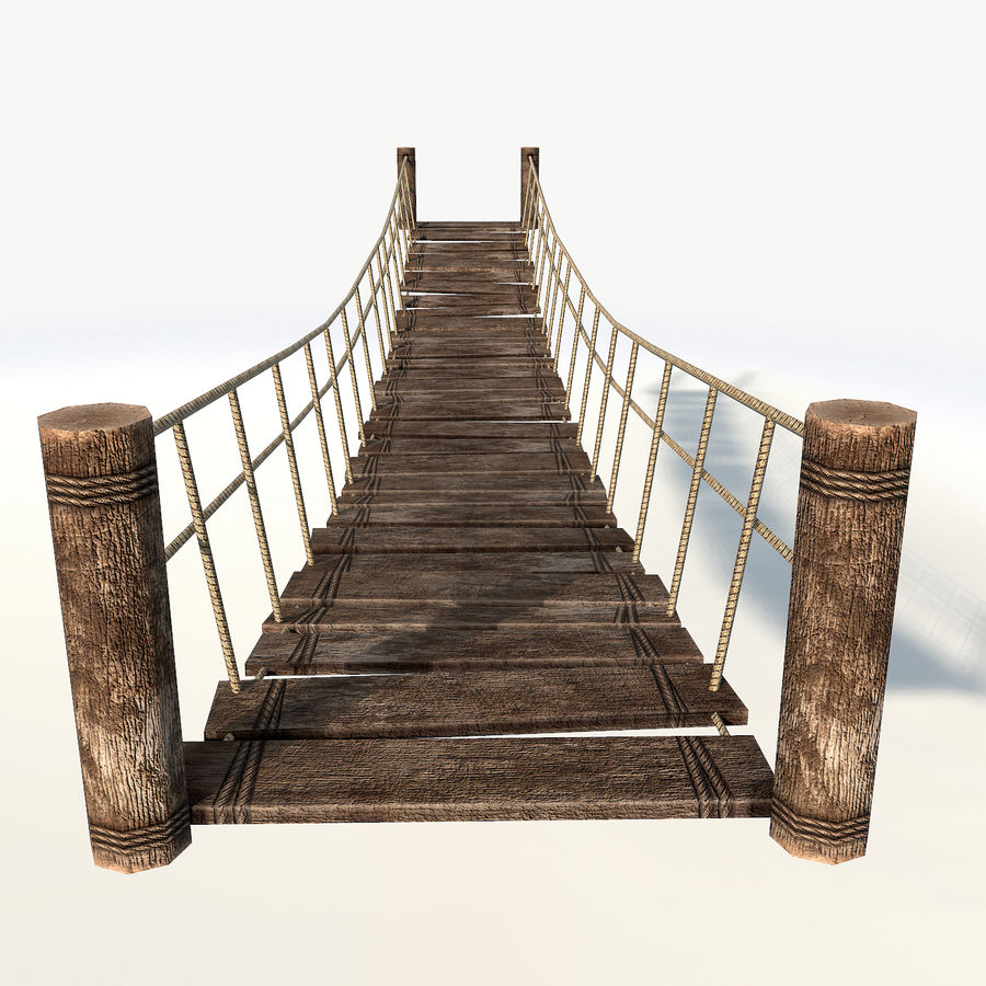 Rope bridge low poly royalty-free 3d model - Preview no. 4