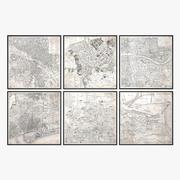 Restoration Hardware Vintage Aerial Maps Of European Cities 3d model